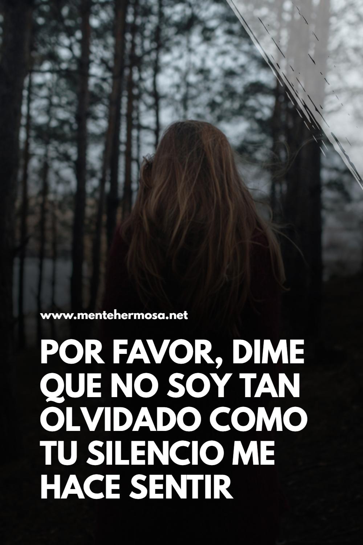 POR FAVOR, DIME QUE NO SOY TAN OLVIDADO COMO TU SILENCIO ME HACE SENTIR